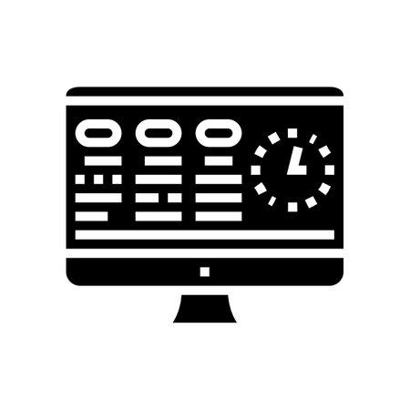 tasks on computer screen glyph icon vector. tasks on computer screen sign. isolated contour symbol black illustration
