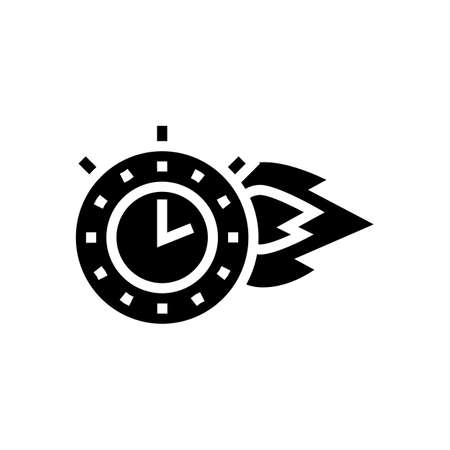 burning time stopwatch glyph icon vector. burning time stopwatch sign. isolated contour symbol black illustration