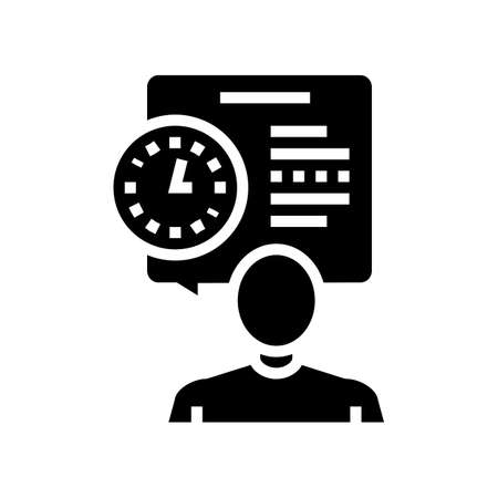 human talk about task time scheduling glyph icon vector. human talk about task time scheduling sign. isolated contour symbol black illustration Ilustrace