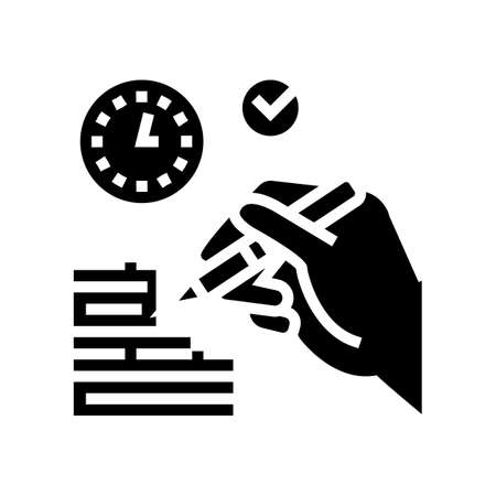 report writing glyph icon vector. report writing sign. isolated contour symbol black illustration