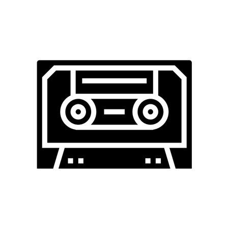 audio casette glyph icon vector. audio casette sign. isolated contour symbol black illustration