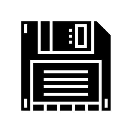 computer diskette glyph icon vector. computer diskette sign. isolated contour symbol black illustration Ilustrace