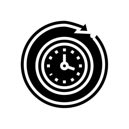 running time glyph icon vector. running time sign. isolated contour symbol black illustration