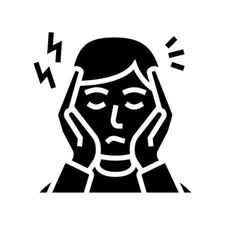 depression, nervous disorder glyph icon vector. depression, nervous disorder sign. isolated contour symbol black illustration 일러스트