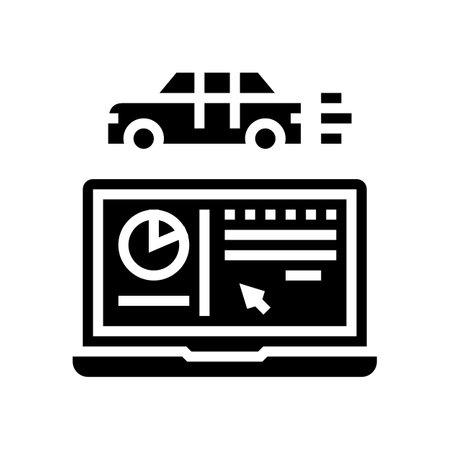 car test computer program glyph icon vector. car test computer program sign. isolated contour symbol black illustration