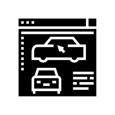 car modeling program glyph icon vector. car modeling program sign. isolated contour symbol black illustration
