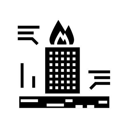 skyscraper fire test glyph icon vector. skyscraper fire test sign. isolated contour symbol black illustration