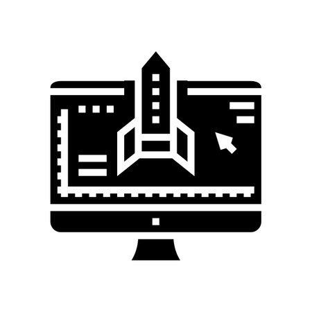 rocket modeling computer program glyph icon vector. rocket modeling computer program sign. isolated contour symbol black illustration Reklamní fotografie - 161691766