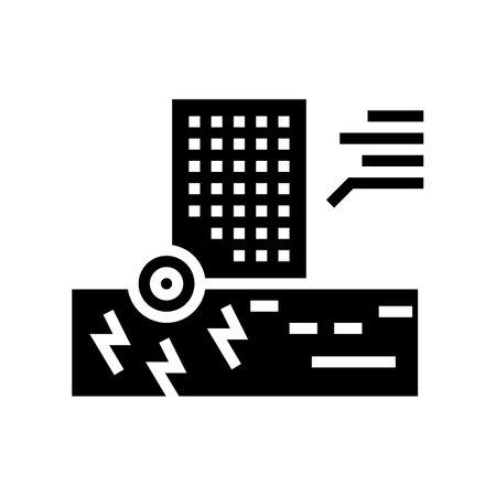 skyscraper seismic resistance glyph icon vector. skyscraper seismic resistance sign. isolated contour symbol black illustration