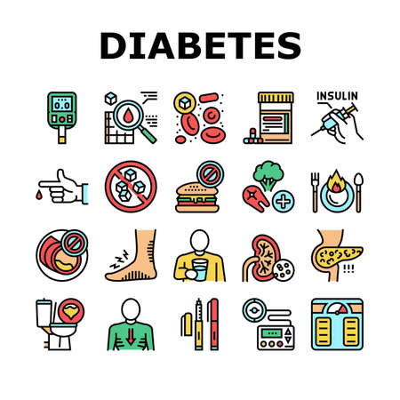Diabetes Treatment Collection Icons Set Vector. Blood Sugar Measurement And Control, Insulin Syringe And Pills, Eat Healthy Food And Drink Water Concept Linear Pictograms. Contour Color Illustrations