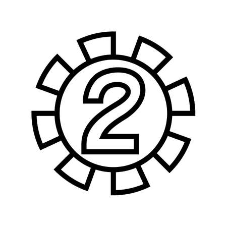two number line icon vector. two number sign. isolated contour symbol black illustration