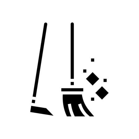 broom and scoop glyph icon vector. broom and scoop sign. isolated contour symbol black illustration Vektorgrafik