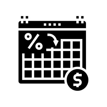date for pay loan glyph icon vector. date for pay loan sign. isolated contour symbol black illustration