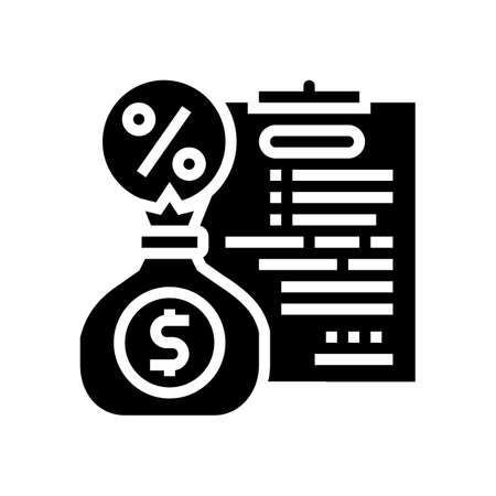 financial agreement for pay percent loan glyph icon vector. financial agreement for pay percent loan sign. isolated contour symbol black illustration Vektoros illusztráció