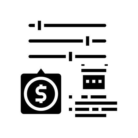 settings of loan glyph icon vector. settings of loan sign. isolated contour symbol black illustration Vektoros illusztráció