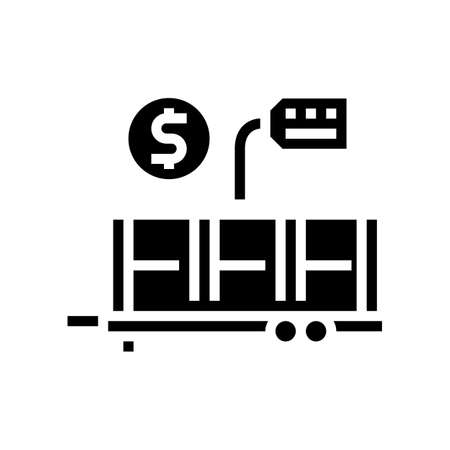 industry product transportation trailer glyph icon vector. industry product transportation trailer sign. isolated contour symbol black illustration