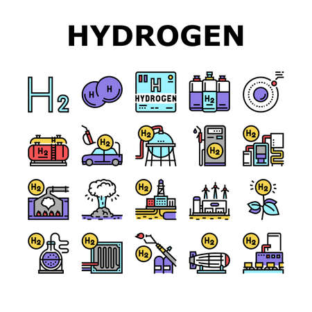 Hydrogen Industry Collection Icons Set Vector. Hydrogen Eco Energy Industrial Plant And Manufacturing Factory, Cylinders And Tank Concept Linear Pictograms. Contour Color Illustrations