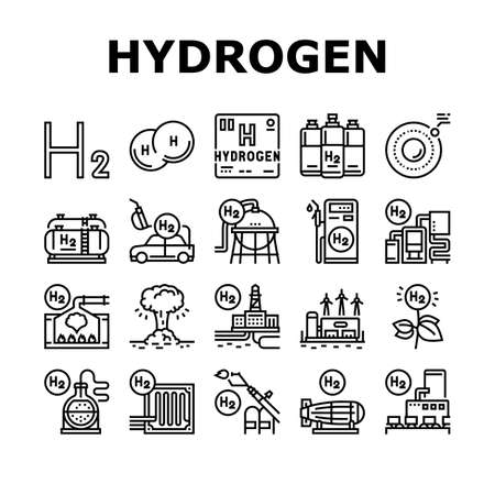 Hydrogen Industry Collection Icons Set Vector. Hydrogen Eco Energy Industrial Plant And Manufacturing Factory, Cylinders And Tank Black Contour Illustrations Vektorgrafik