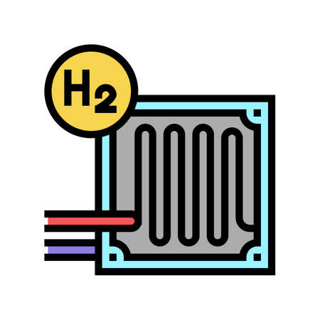 fuel cells hydrogen color icon vector. fuel cells hydrogen sign. isolated symbol illustration