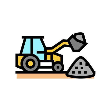 tractor stone gravel loading machine color icon vector. tractor stone gravel loading machine sign. isolated symbol illustration