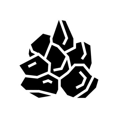 mined stone glyph icon vector. mined stone sign. isolated contour symbol black illustration