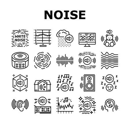 White Noise Hearing Collection Icons Set Vector. Speaker Dynamic And Audio Card, Relaxation And Music For Sleep, Rain Noise And Sound Black Contour Illustrations