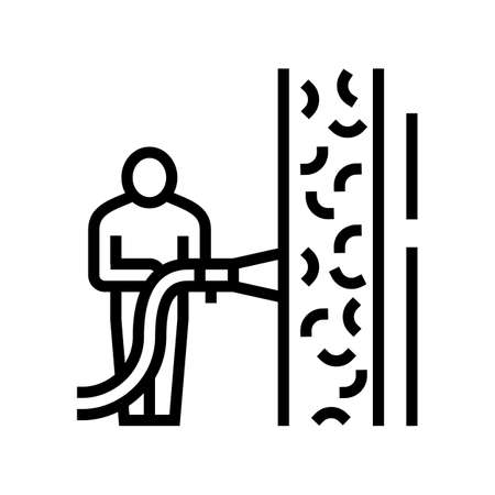 ecowool insulation line icon vector. ecowool insulation sign. isolated contour symbol black illustration