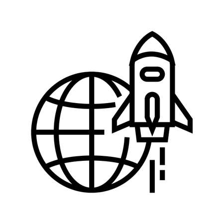 rocket for fly on other planet, space transport line icon vector. rocket for fly on other planet, space transport sign. isolated contour symbol black illustration