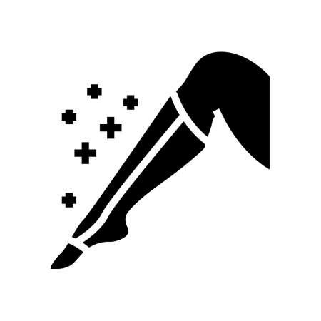 leg bandage health tratment glyph icon vector. leg bandage health tratment sign. isolated contour symbol black illustration