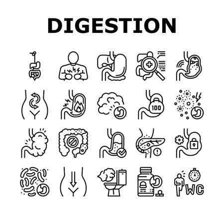 Digestion Disease And Treatment Icons Set Vector. Digestion System And Gastrointestinal Tract, Examining And Consultation, Heartburn And Gassing Black Contour Illustrations Vektorové ilustrace