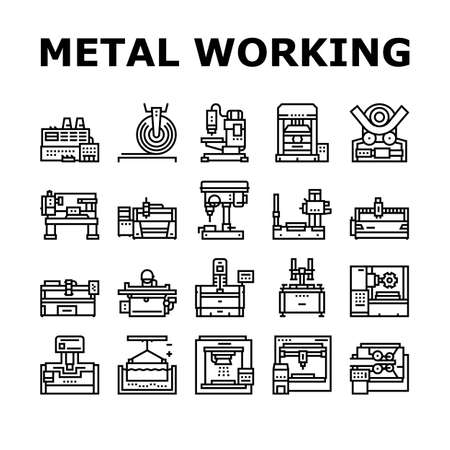 Metal Working Machine Collection Icons Set Vector. Welding And Sandblasting Machine, Laser And Boring Apparatus Metal Work Industrial Equipment Black Contour Illustrations