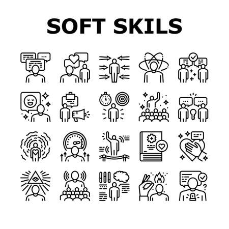 Soft Skills People Collection Icons Set Vector. Creativity And Decision Making, Understanding Body Language And Learning, Soft Skills Black Contour Illustrations Ilustración de vector