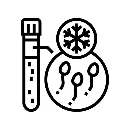 freezing sperm line icon vector. freezing sperm sign. isolated contour symbol black illustration