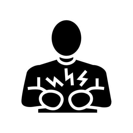 pain stomach glyph icon vector. pain stomach sign. isolated contour symbol black illustration Vektorové ilustrace