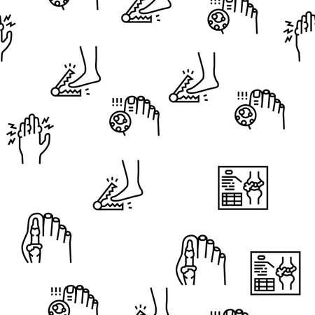 Gout Health Disease Vector Seamless Pattern Thin Line Illustration Vector Illustration