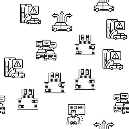 Traffic Jam Transport Vector Seamless Pattern Thin Line Illustration