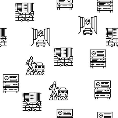Traffic Jam Transport Vector Seamless Pattern Thin Line Illustration Vettoriali