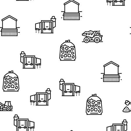 Crushed Stone Mining Vector Seamless Pattern Thin Line Illustration
