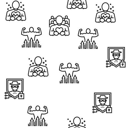 Values Human Life Vector Seamless Pattern Thin Line Illustration