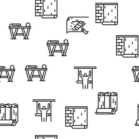Wallpaper Interior Vector Seamless Pattern Thin Line Illustration