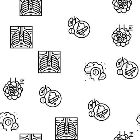 Respiratory Disease Vector Seamless Pattern Thin Line Illustration