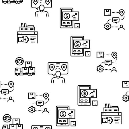 Supply Chain Management System Vector Seamless Pattern Thin Line Illustration