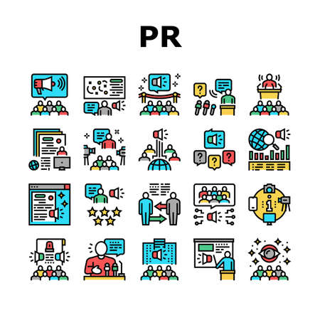 Pr Public Relations Collection Icons Set Vector. Pr Strategy And Events, Interview And Press Release, Meeting And Responses To Media Inquiries Concept Linear Pictograms. Contour Color Illustrations