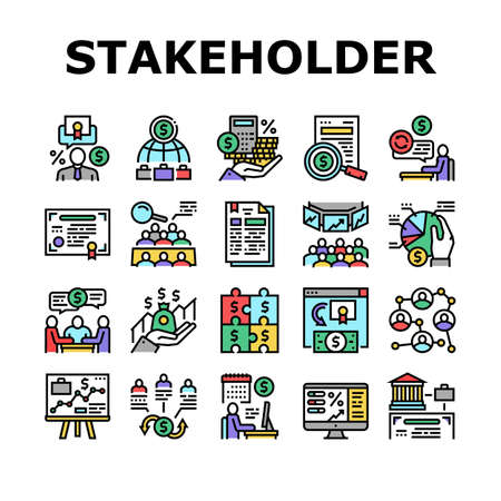 Stakeholder Business Collection Icons Set Vector. Stakeholder Meeting With Investor And Trade Union, Credit And Dividends, Stock And Bidding Concept Linear Pictograms. Contour Color Illustrations