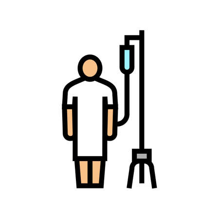patient with dropper color icon vector. patient with dropper sign. isolated symbol illustration