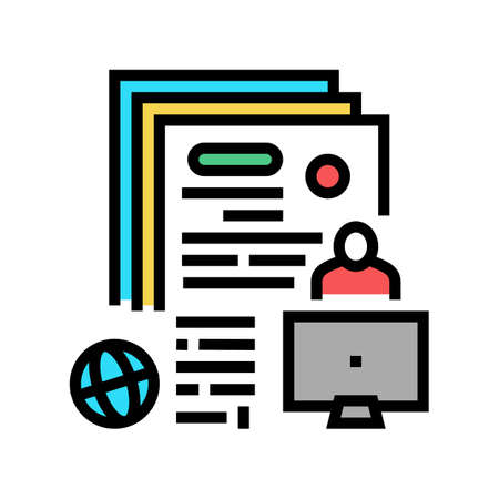 writing press release color icon vector. writing press release sign. isolated symbol illustration Vettoriali