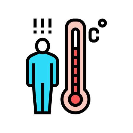 patient high temperature color icon vector. patient high temperature sign. isolated symbol illustration Ilustrace