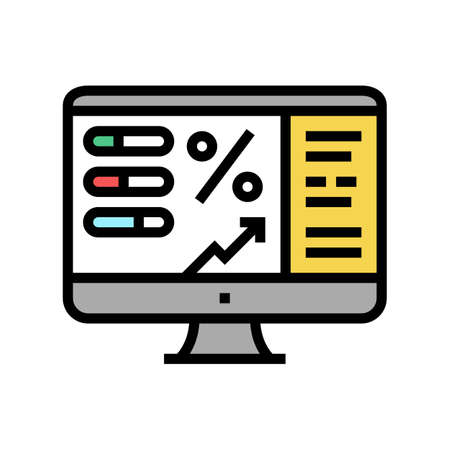 monitoring profit color icon vector. monitoring profit sign. isolated symbol illustration