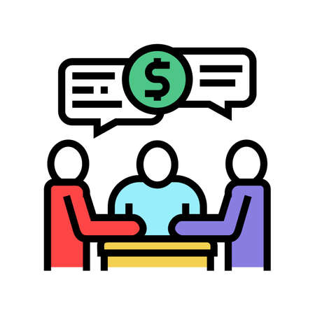 shareholders business meeting and discussion color icon vector. shareholders business meeting and discussion sign. isolated symbol illustration Ilustrace
