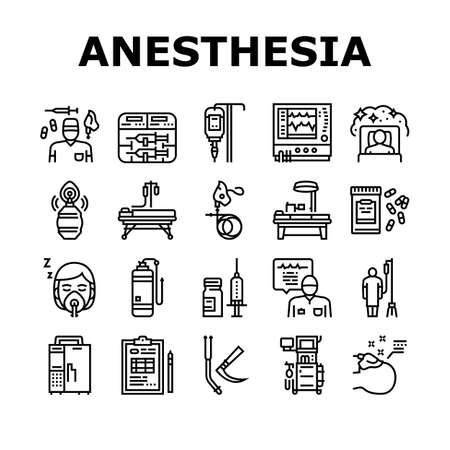Anesthesiologist Tool Collection Icons Set Vector. Syringe Pump, Anesthesia Machine And Heart Rate Monitor Anesthesiologist Equipment Black Contour Illustrations